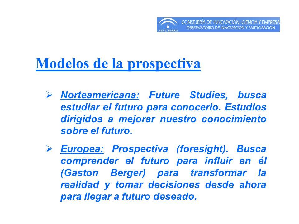 Modelos de la prospectiva Norteamericana: Future Studies, busca estudiar el futuro para conocerlo. Estudios dirigidos a mejorar nuestro conocimiento s