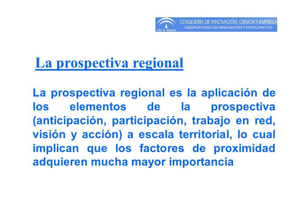 La prospectiva regional La prospectiva regional es la aplicación de los elementos de la prospectiva (anticipación, participación, trabajo en red, visi