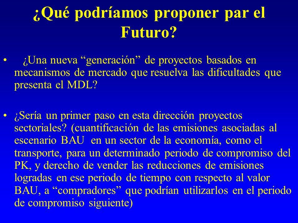 ¿Qué podríamos proponer par el Futuro? ¿Una nueva generación de proyectos basados en mecanismos de mercado que resuelva las dificultades que presenta