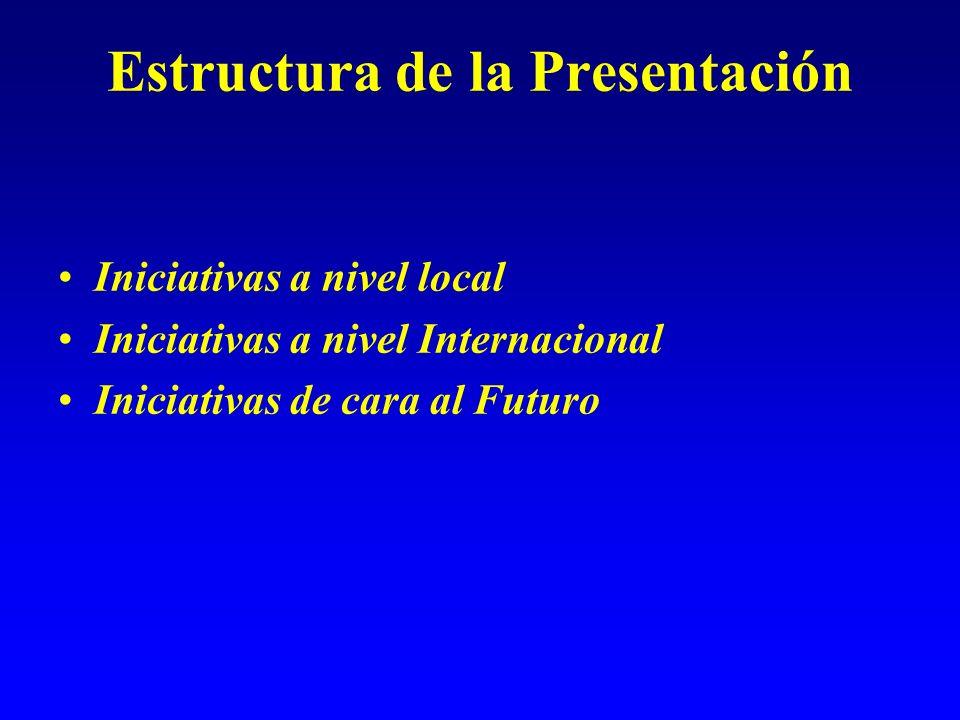Estructura de la Presentación Iniciativas a nivel local Iniciativas a nivel Internacional Iniciativas de cara al Futuro