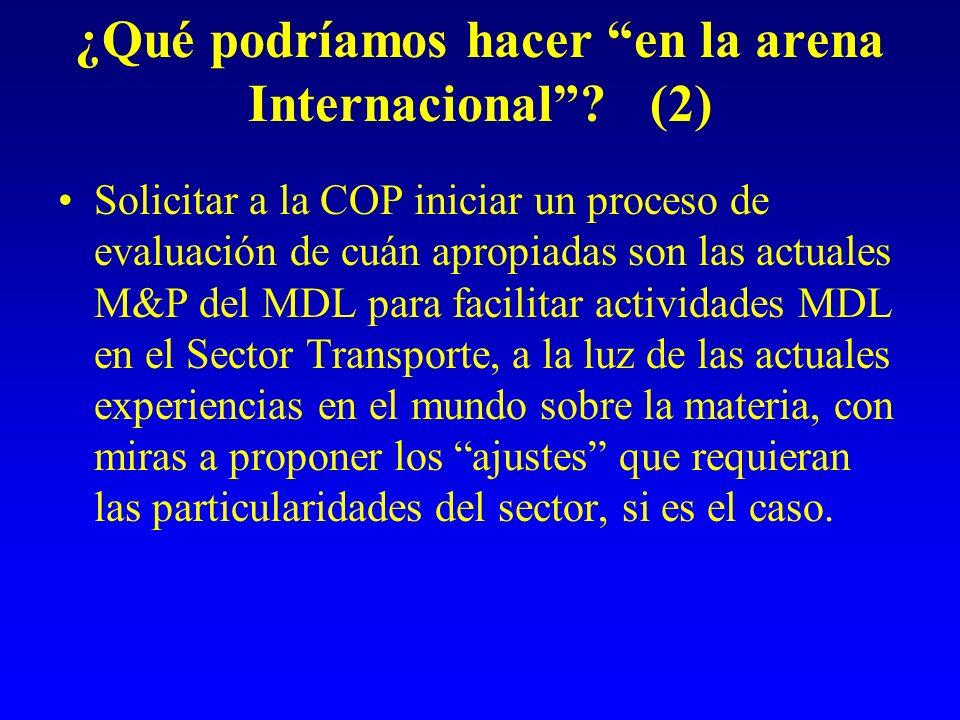 ¿Qué podríamos hacer en la arena Internacional? (2) Solicitar a la COP iniciar un proceso de evaluación de cuán apropiadas son las actuales M&P del MD