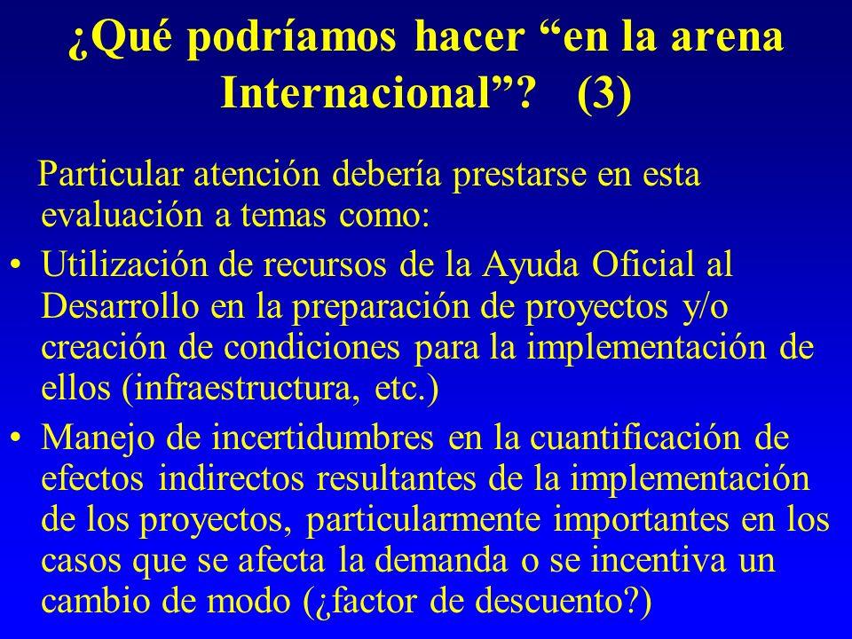 ¿Qué podríamos hacer en la arena Internacional? (3) Particular atención debería prestarse en esta evaluación a temas como: Utilización de recursos de