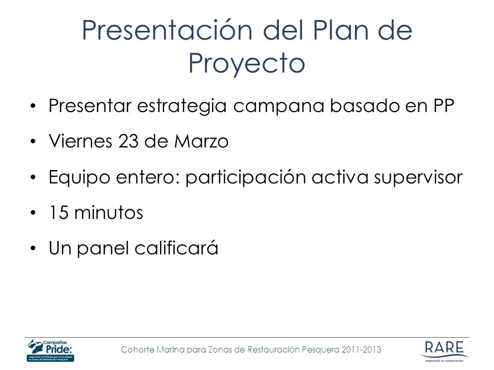 Presentación del Plan de Proyecto Presentar estrategia campana basado en PP Viernes 23 de Marzo Equipo entero: participación activa supervisor 15 minu