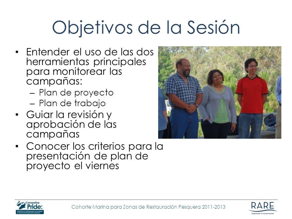 Objetivos de la Sesión Entender el uso de las dos herramientas principales para monitorear las campañas: – Plan de proyecto – Plan de trabajo Guiar la