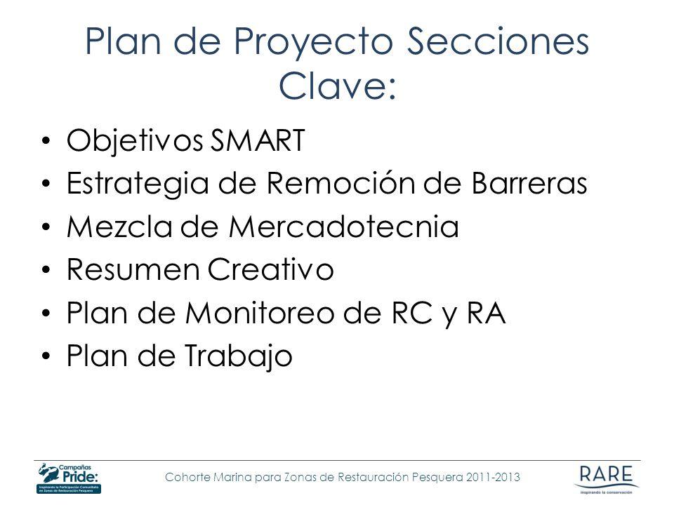 Cohorte Marina para Zonas de Restauración Pesquera 2011-2013 Plan de Proyecto Secciones Clave: Objetivos SMART Estrategia de Remoción de Barreras Mezc