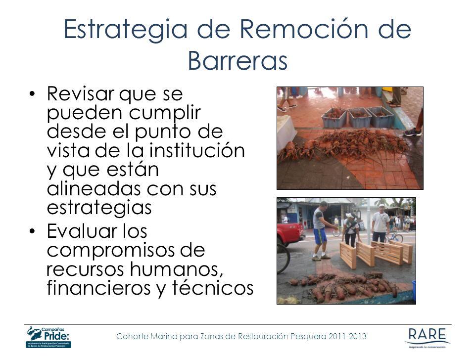 Cohorte Marina para Zonas de Restauración Pesquera 2011-2013 Estrategia de Remoción de Barreras Revisar que se pueden cumplir desde el punto de vista
