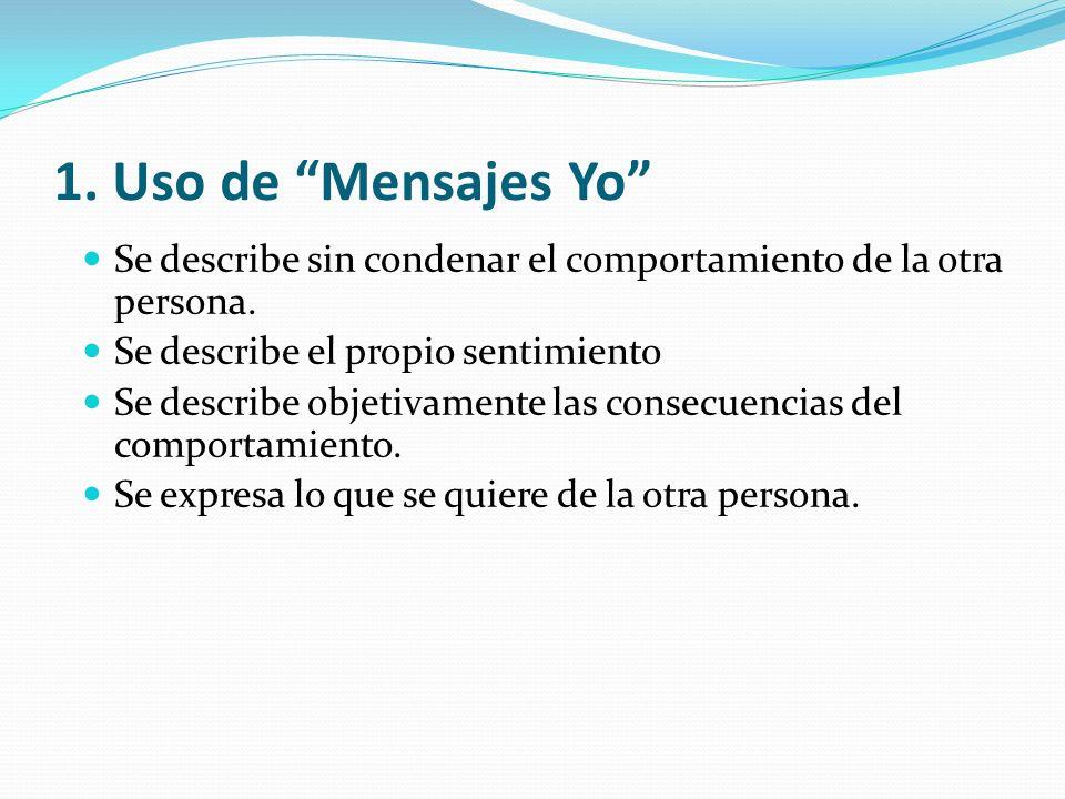 1. Uso de Mensajes Yo Se describe sin condenar el comportamiento de la otra persona.