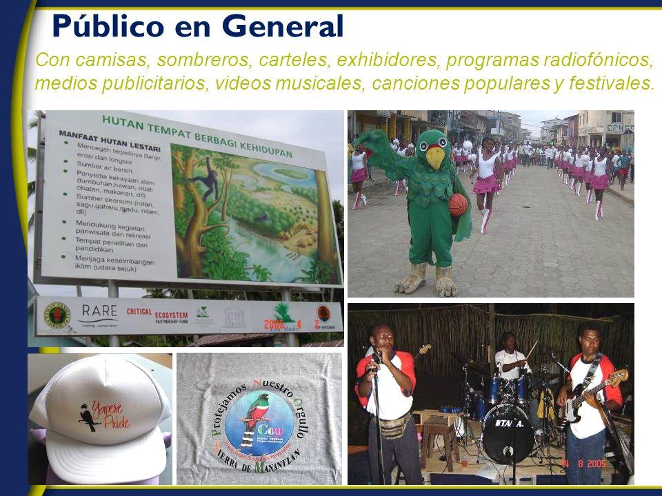 Público en General Con camisas, sombreros, carteles, exhibidores, programas radiofónicos, medios publicitarios, videos musicales, canciones populares y festivales.