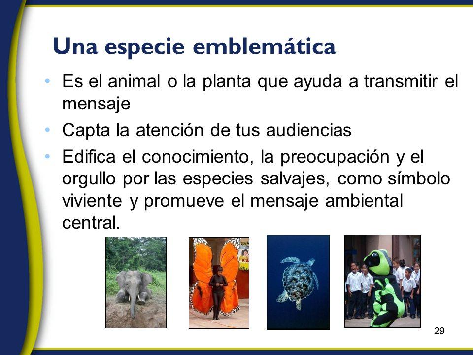 29 Una especie emblemática Es el animal o la planta que ayuda a transmitir el mensaje Capta la atención de tus audiencias Edifica el conocimiento, la preocupación y el orgullo por las especies salvajes, como símbolo viviente y promueve el mensaje ambiental central.