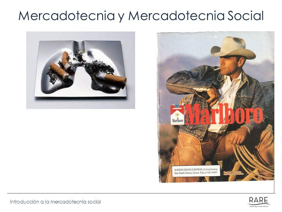 Introducción a la mercadotecnia social Etapas del cambio de comportamiento Mantenimieto Acción Contemplación [Preparación] Pre-Contemplación Validación