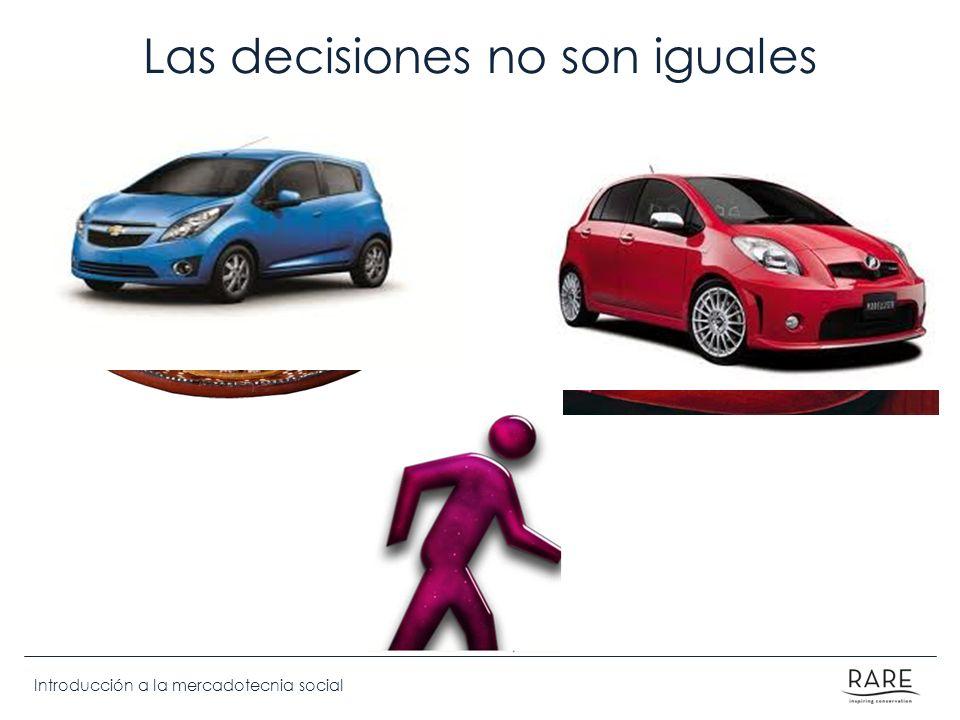 Introducción a la mercadotecnia social Las decisiones no son iguales