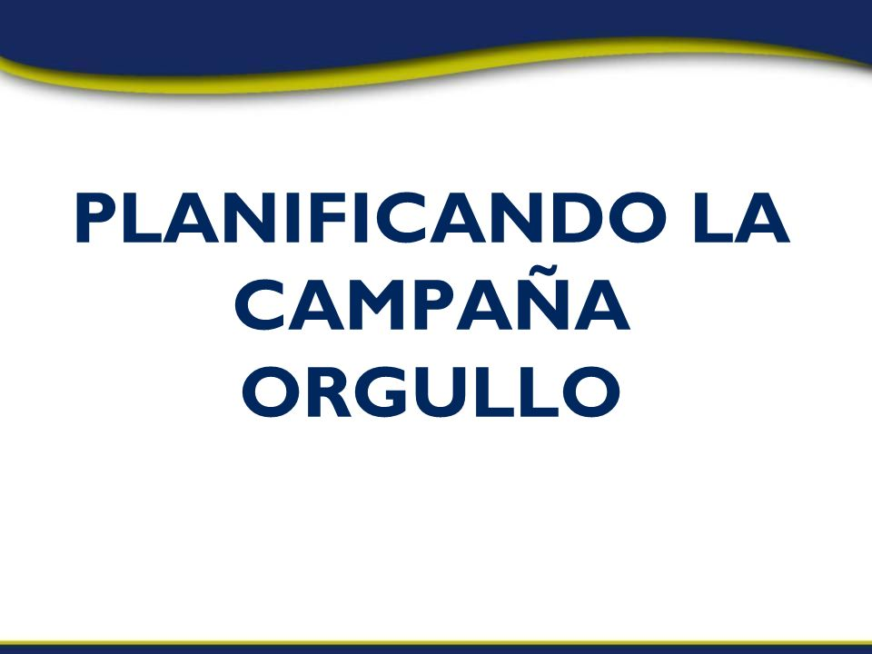 PLANIFICANDO LA CAMPAÑA ORGULLO