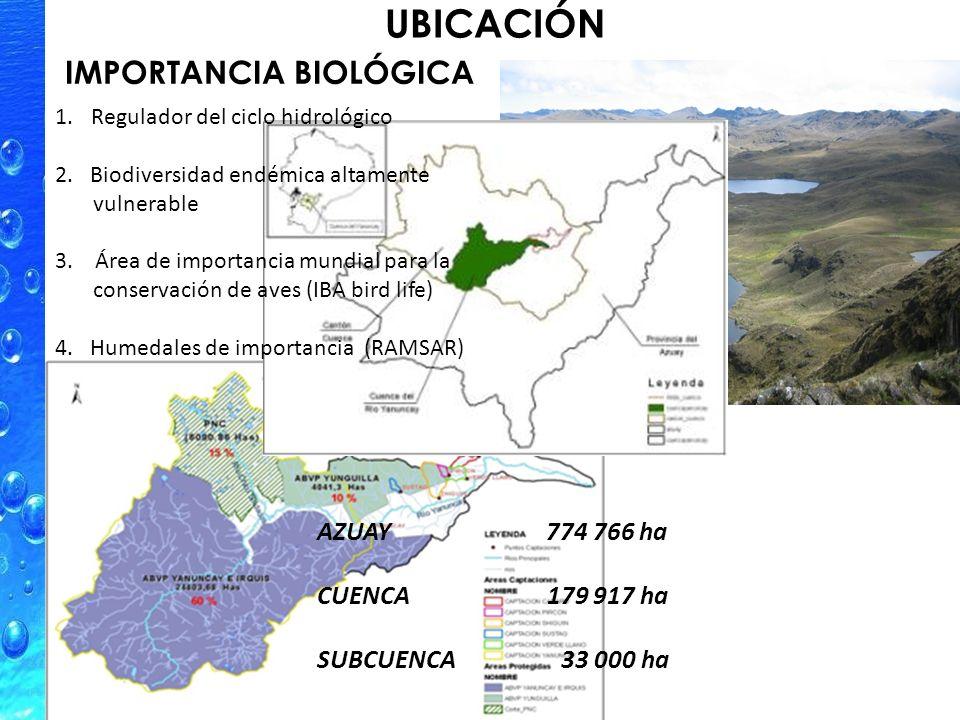 UBICACIÓN 1.Regulador del ciclo hidrológico 2. Biodiversidad endémica altamente vulnerable 3.