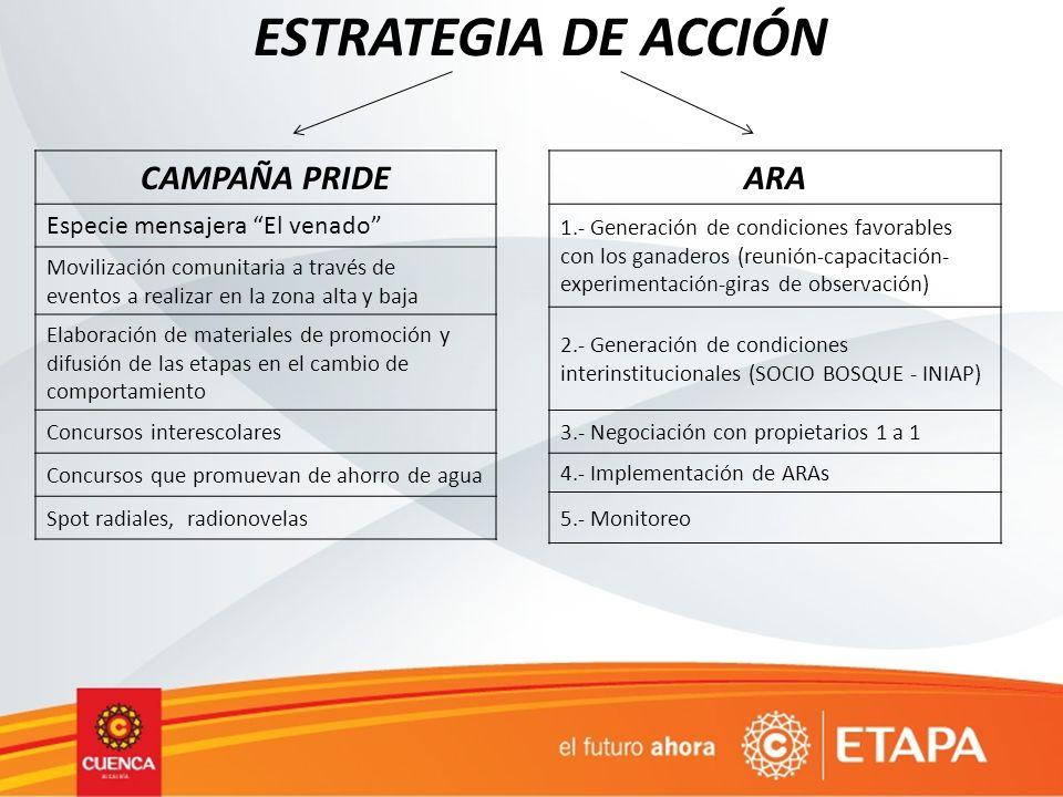 ESTRATEGIA DE ACCIÓN CAMPAÑA PRIDE Especie mensajera El venado Movilización comunitaria a través de eventos a realizar en la zona alta y baja Elaborac