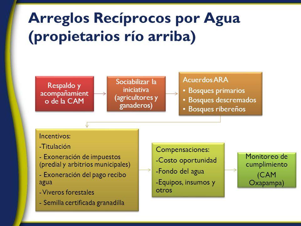 Arreglos Recíprocos por Agua (propietarios río arriba) Respaldo y acompañamient o de la CAM Sociabilizar la iniciativa (agricultores y ganaderos) Acue