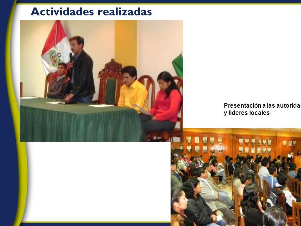 Actividades realizadas Presentación a las autoridades y lideres locales