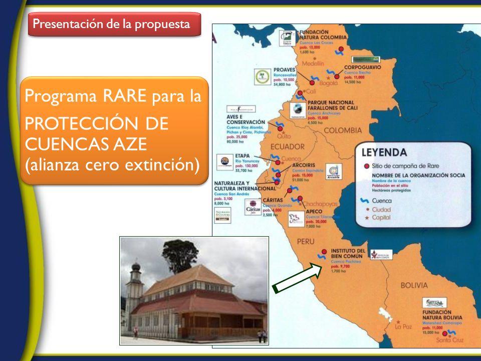 Presentación de la propuesta Programa RARE para la PROTECCIÓN DE CUENCAS AZE (alianza cero extinción) Programa RARE para la PROTECCIÓN DE CUENCAS AZE