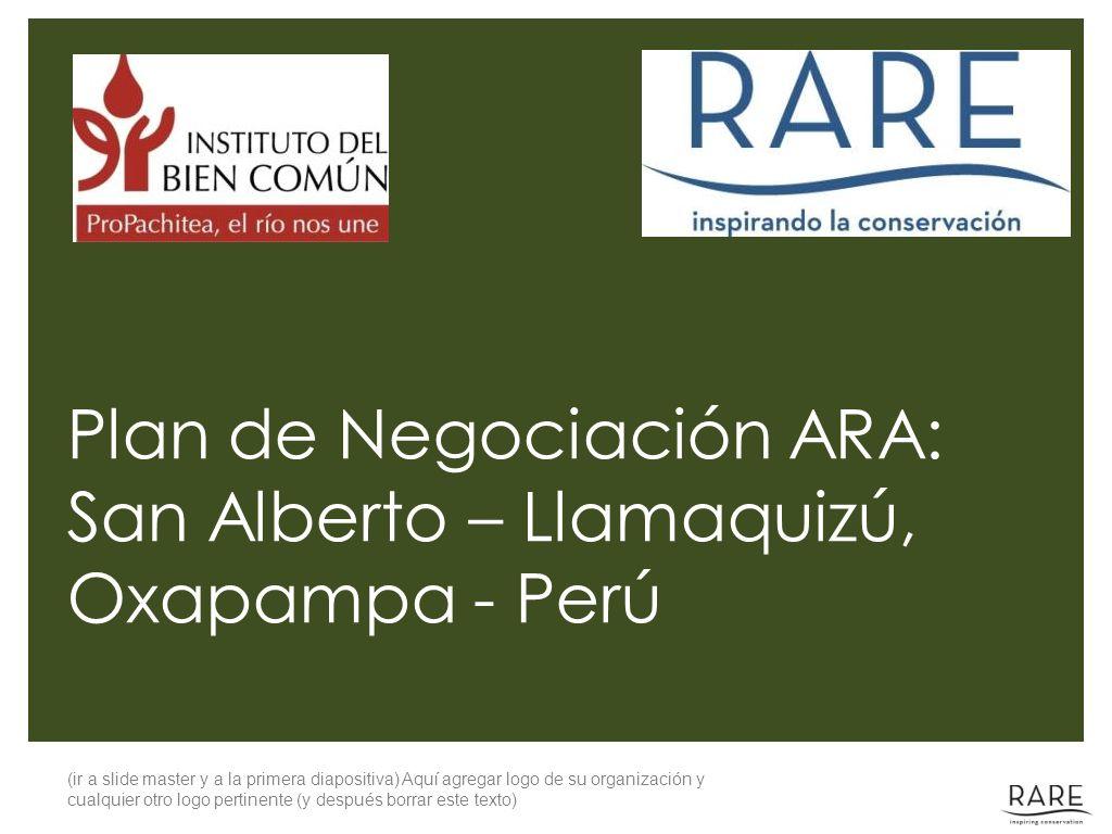 (ir a slide master y a la primera diapositiva) Aquí agregar logo de su organización y cualquier otro logo pertinente (y después borrar este texto) Plan de Negociación ARA: San Alberto – Llamaquizú, Oxapampa - Perú