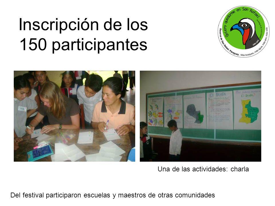 Inscripción de los 150 participantes Una de las actividades: charla Del festival participaron escuelas y maestros de otras comunidades