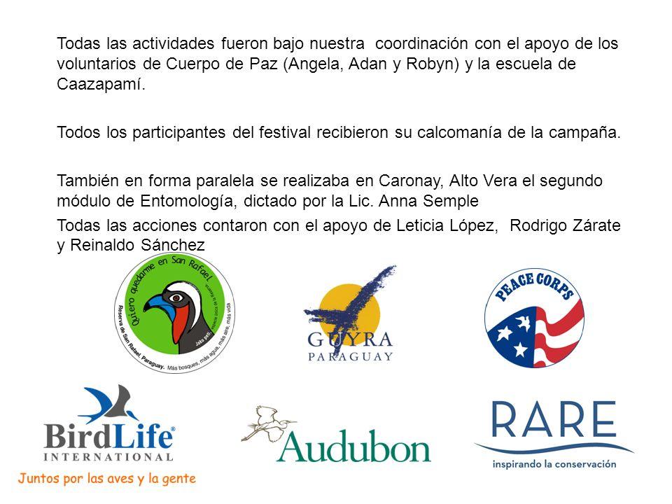 Todas las actividades fueron bajo nuestra coordinación con el apoyo de los voluntarios de Cuerpo de Paz (Angela, Adan y Robyn) y la escuela de Caazapamí.