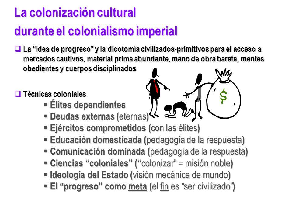 La colonización cultural durante el colonialismo imperial La idea de progreso y la dicotomía civilizados-primitivos para el acceso a La idea de progre