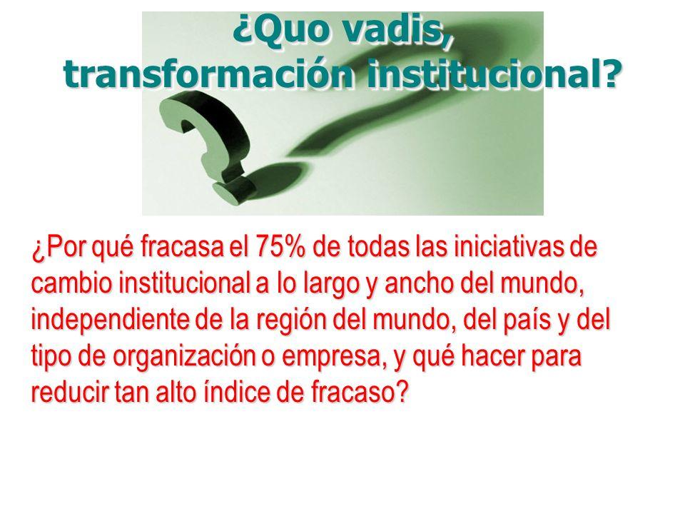 ¿Por qué fracasa el 75% de todas las iniciativas de cambio institucional a lo largo y ancho del mundo, independiente de la región del mundo, del país