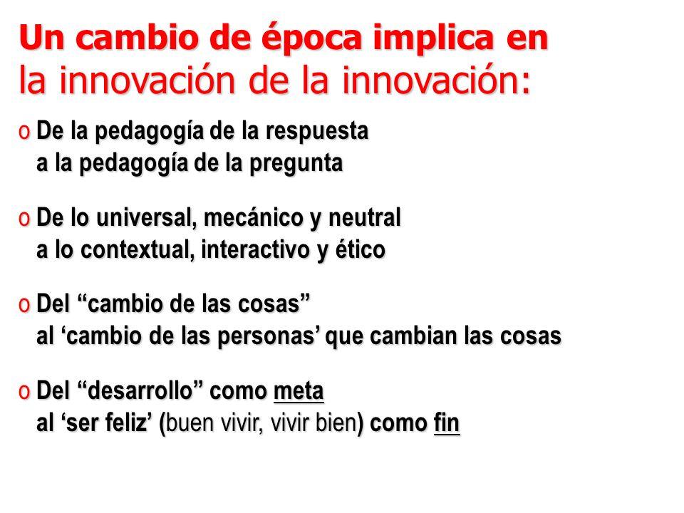 Un cambio de época implica en la innovación de la innovación: o De la pedagogía de la respuesta a la pedagogía de la pregunta a la pedagogía de la pre