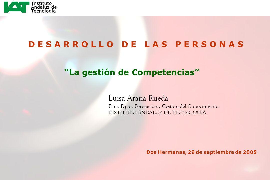 1 D E S A R R O L L O D E L A S P E R S O N A S La gestión de Competencias Luisa Arana Rueda Dtra. Dpto. Formación y Gestión del Conocimiento INSTITUT