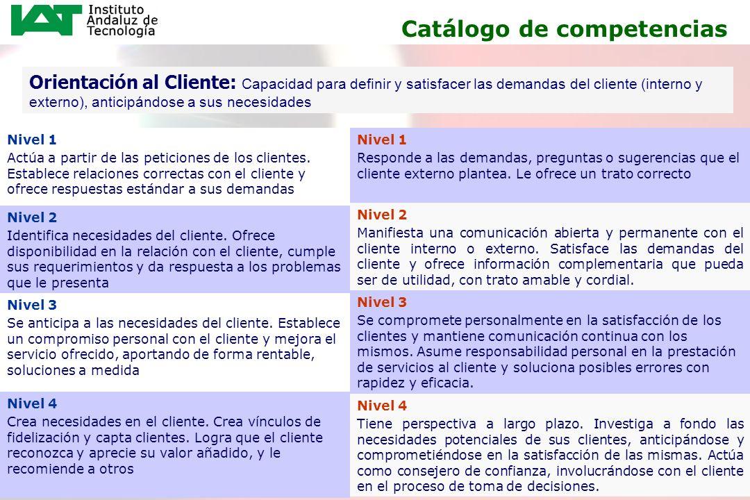 12 Orientación al Cliente: Capacidad para definir y satisfacer las demandas del cliente (interno y externo), anticipándose a sus necesidades Nivel 1 A