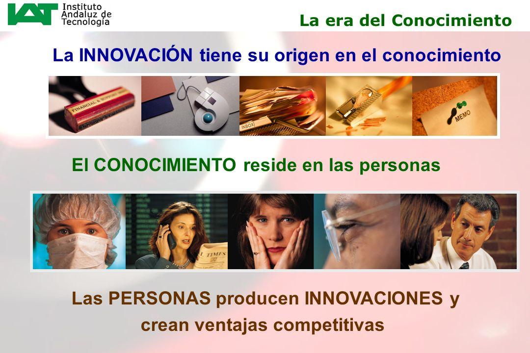 4 La INNOVACIÓN tiene su origen en el conocimiento El CONOCIMIENTO reside en las personas La era del Conocimiento Las PERSONAS producen INNOVACIONES y