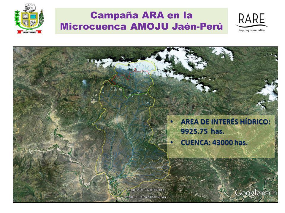 Campaña ARA en la Microcuenca AMOJU Jaén-Perú AREA DE INTERÉS HÍDRICO: 9925.75 has. AREA DE INTERÉS HÍDRICO: 9925.75 has. CUENCA: 43000 has CUENCA: 43