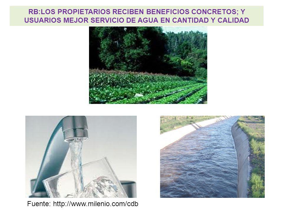 RB:LOS PROPIETARIOS RECIBEN BENEFICIOS CONCRETOS; Y USUARIOS MEJOR SERVICIO DE AGUA EN CANTIDAD Y CALIDAD Fuente: http://www.milenio.com/cdb