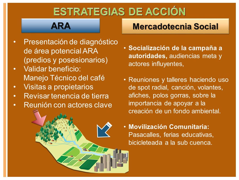 Mercadotecnia Social ARAARA Presentación de diagnóstico de área potencial ARA (predios y posesionarios) Validar beneficio: Manejo Técnico del café Vis