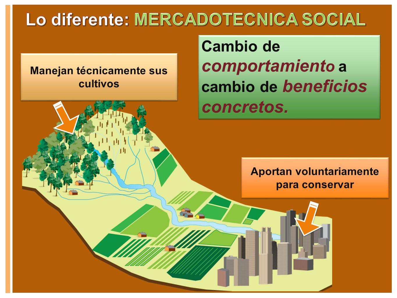 Manejan técnicamente sus cultivos Aportan voluntariamente para conservar Cambio de comportamient o a cambio de beneficios concretos.
