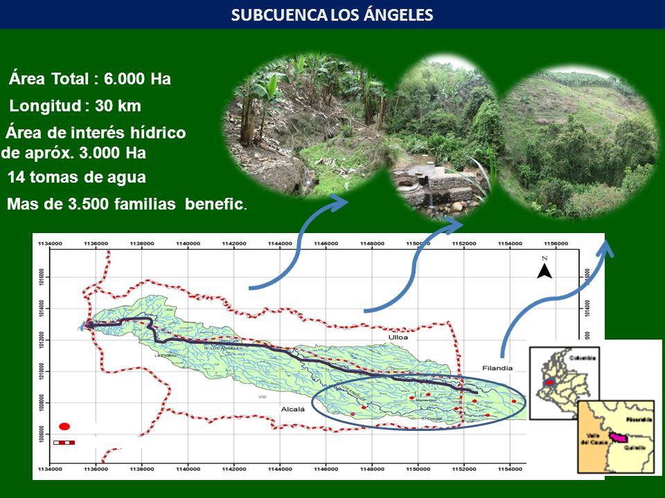 Bocatoma Límite municipal SUBCUENCA LOS ÁNGELES Longitud : 30 km Área Total : 6.000 Ha 14 tomas de agua Mas de 3.500 familias benefic. Área de interés