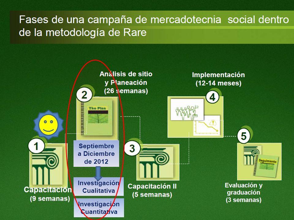 Septiembre a Diciembre de 2012 Investigación Cualitativa Investigación Cuantitativa