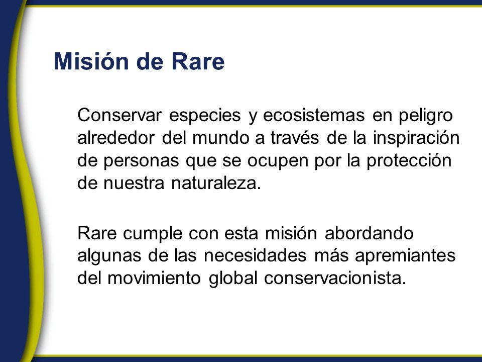 Misión de Rare Conservar especies y ecosistemas en peligro alrededor del mundo a través de la inspiración de personas que se ocupen por la protección de nuestra naturaleza.