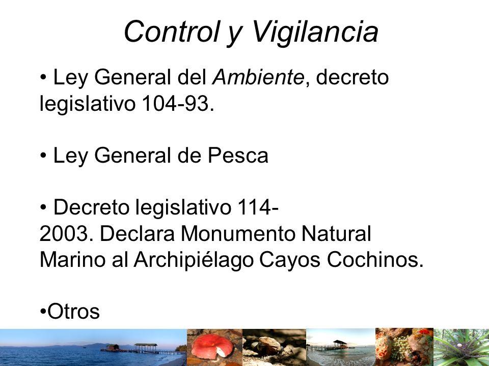 Control y Vigilancia Ley General del Ambiente, decreto legislativo 104-93. Ley General de Pesca Decreto legislativo 114- 2003. Declara Monumento Natur
