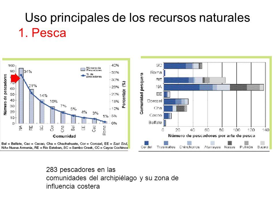 Uso principales de los recursos naturales 1. Pesca 283 pescadores en las comunidades del archipiélago y su zona de influencia costera