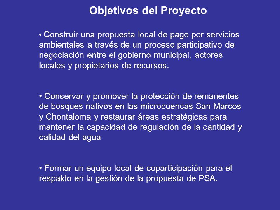Construir una propuesta local de pago por servicios ambientales a través de un proceso participativo de negociación entre el gobierno municipal, actores locales y propietarios de recursos.