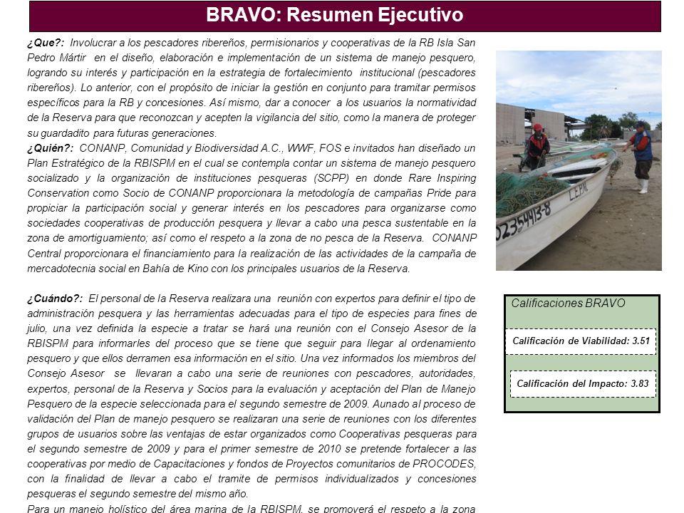 Calificaciones BRAVO BRAVO: Resumen Ejecutivo ¿Que?: Involucrar a los pescadores ribereños, permisionarios y cooperativas de la RB Isla San Pedro Márt