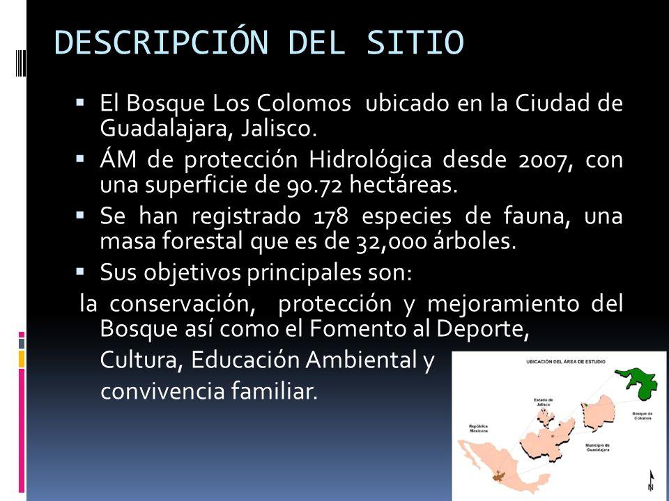 DESCRIPCIÓN DEL SITIO El Bosque Los Colomos ubicado en la Ciudad de Guadalajara, Jalisco. ÁM de protección Hidrológica desde 2007, con una superficie