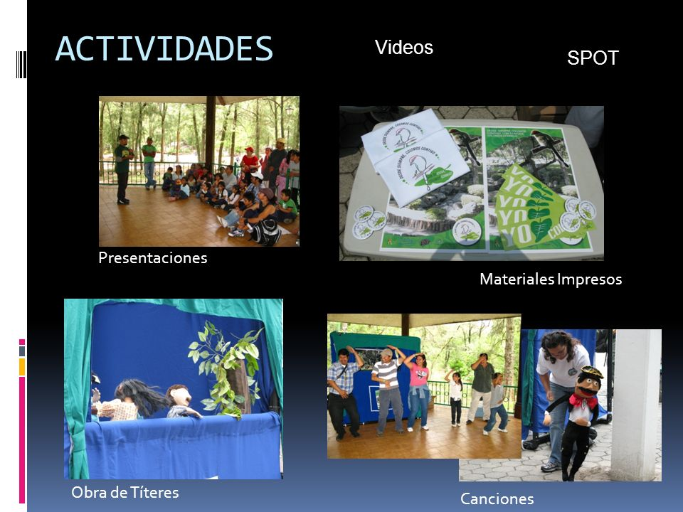 ACTIVIDADES Materiales Impresos Obra de Títeres Canciones SPOT Videos Presentaciones