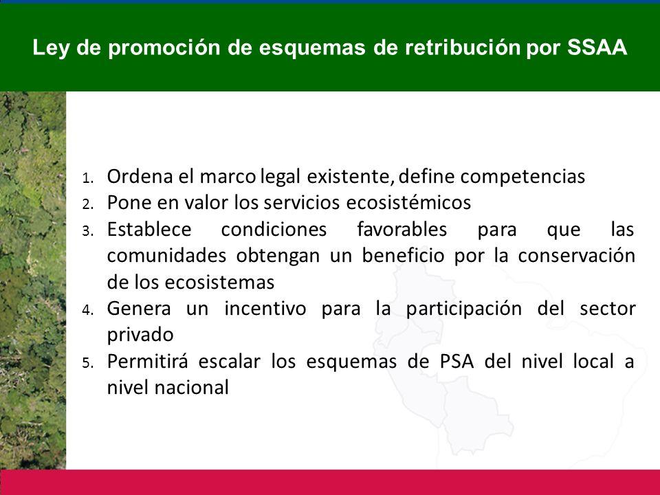 1. Ordena el marco legal existente, define competencias 2. Pone en valor los servicios ecosistémicos 3. Establece condiciones favorables para que las