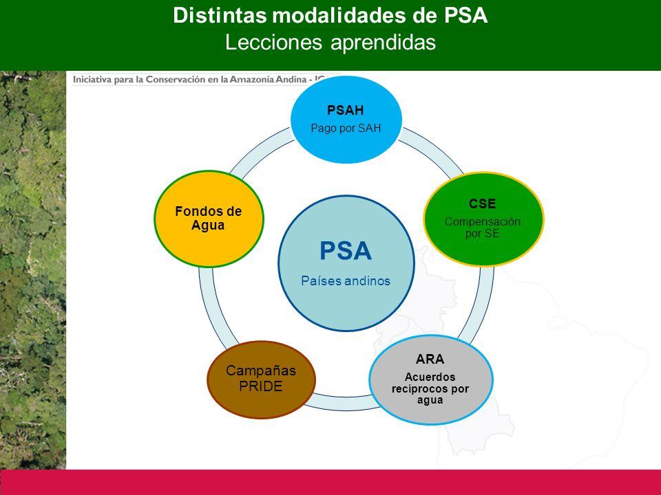 Distintas modalidades de PSA Lecciones aprendidas PSA Países andinos PSAH Pago por SAH CSE Compensación por SE ARA Acuerdos recíprocos por agua Campañas PRIDE Fondos de Agua