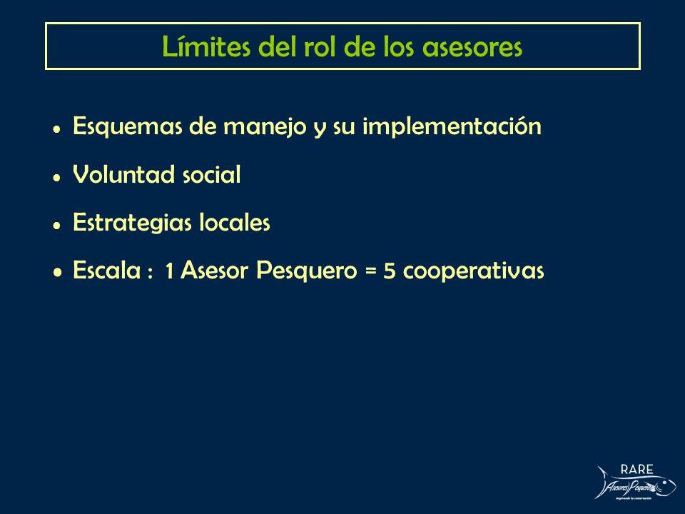 Límites del rol de los asesores Esquemas de manejo y su implementación Voluntad social Estrategias locales Escala : 1 Asesor Pesquero = 5 cooperativas