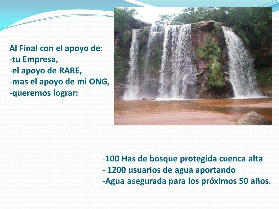 Al Final con el apoyo de: -tu Empresa, -el apoyo de RARE, -mas el apoyo de mi ONG, -queremos lograr: -100 Has de bosque protegida cuenca alta - 1200 usuarios de agua aportando -Agua asegurada para los próximos 50 años.