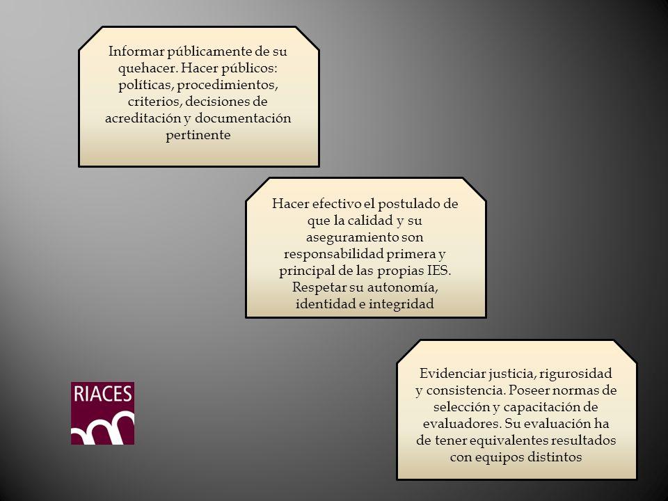 Informar públicamente de su quehacer. Hacer públicos: políticas, procedimientos, criterios, decisiones de acreditación y documentación pertinente Hace