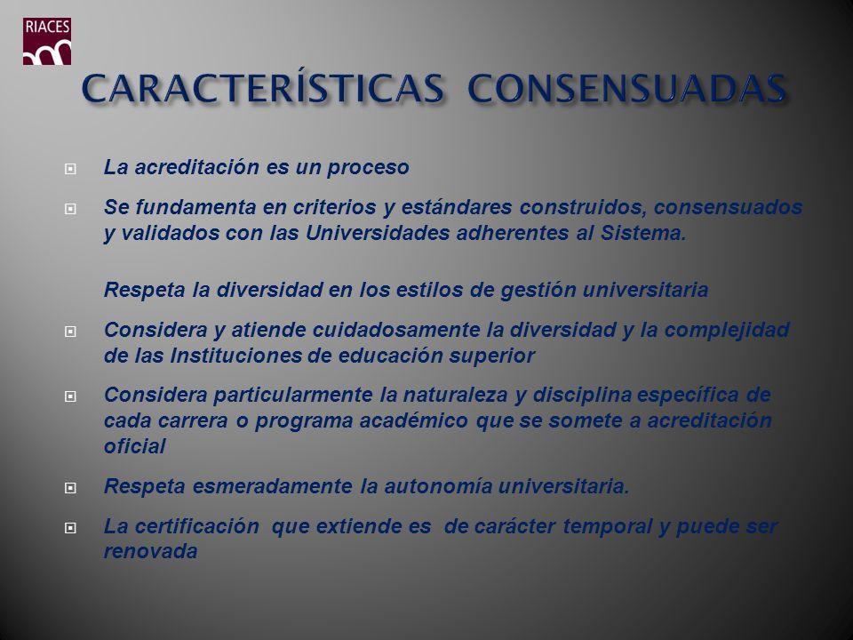 La acreditación es un proceso Se fundamenta en criterios y estándares construidos, consensuados y validados con las Universidades adherentes al Sistem