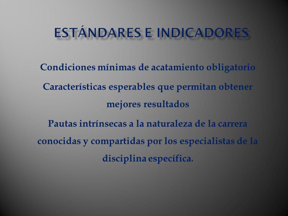Condiciones mínimas de acatamiento obligatorio Características esperables que permitan obtener mejores resultados Pautas intrínsecas a la naturaleza d